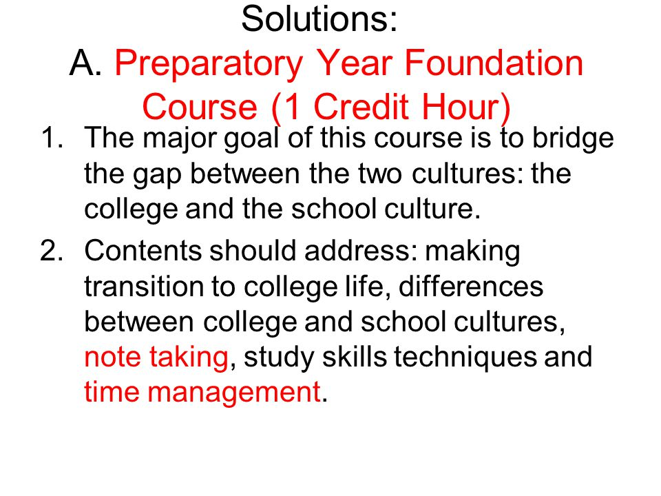 Solutions: A. Preparatory Year Foundation Course (1 Credit Hour)