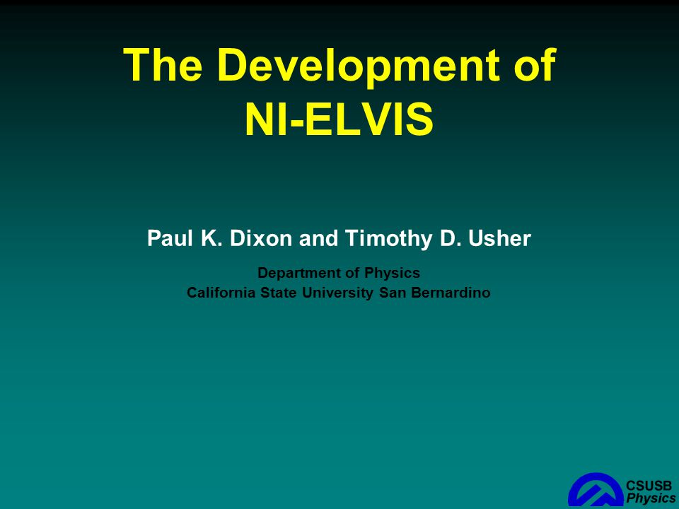 The Development of NI-ELVIS