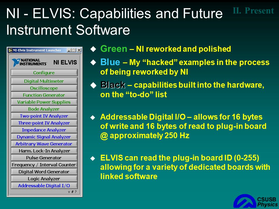 NI - ELVIS: Capabilities and Future Instrument Software