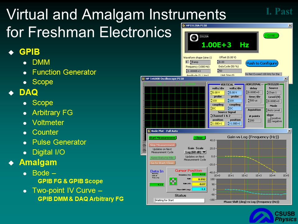 Virtual and Amalgam Instruments for Freshman Electronics