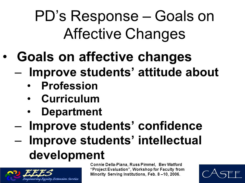 PD's Response – Goals on Affective Changes