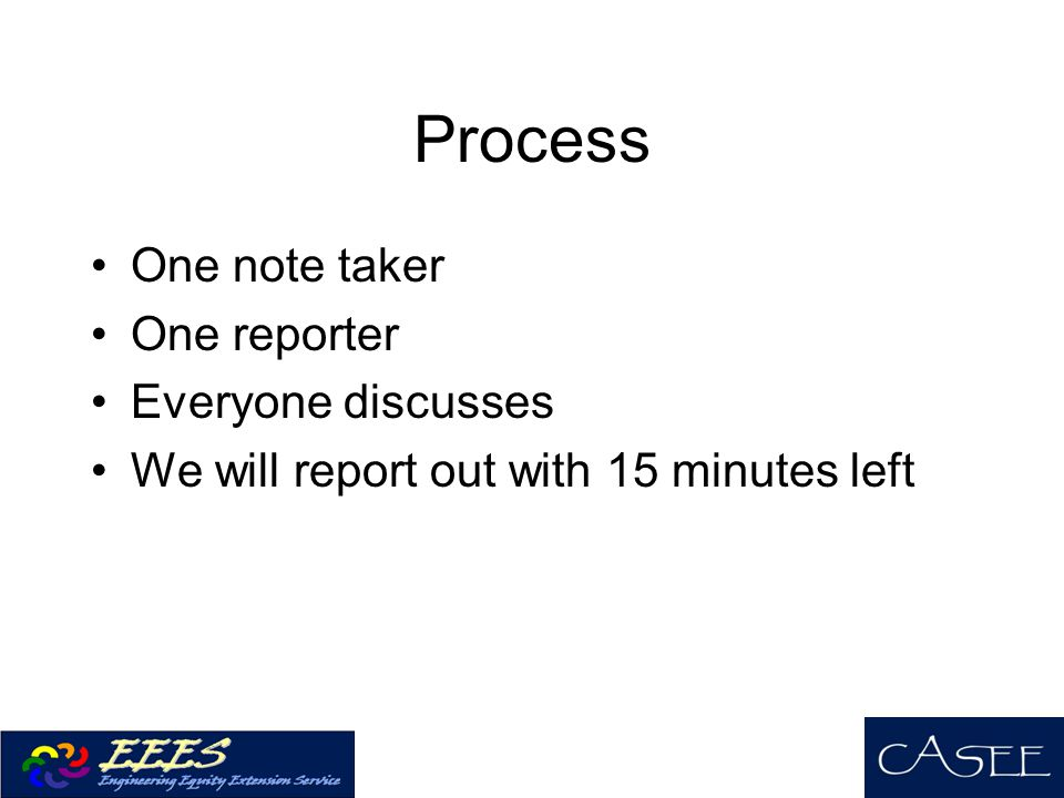 Process One note taker One reporter Everyone discusses