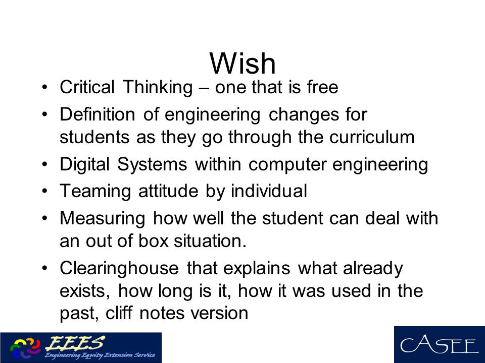 Wish Critical Thinking – one that is free
