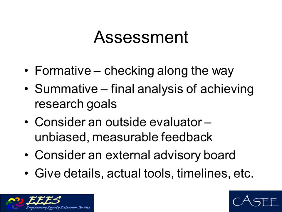 Assessment Formative – checking along the way