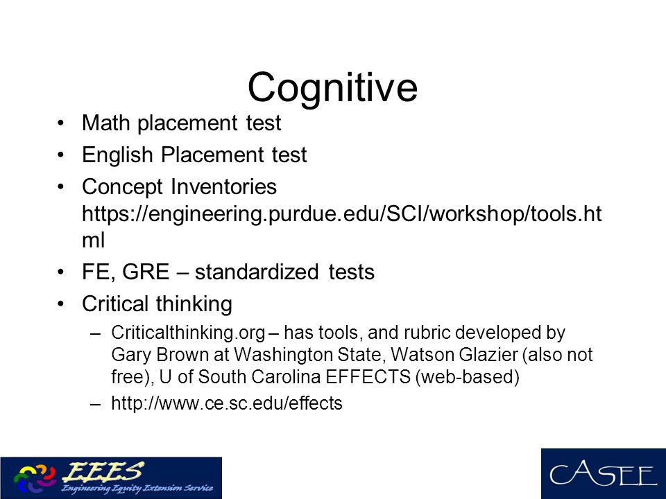 Cognitive Math placement test English Placement test