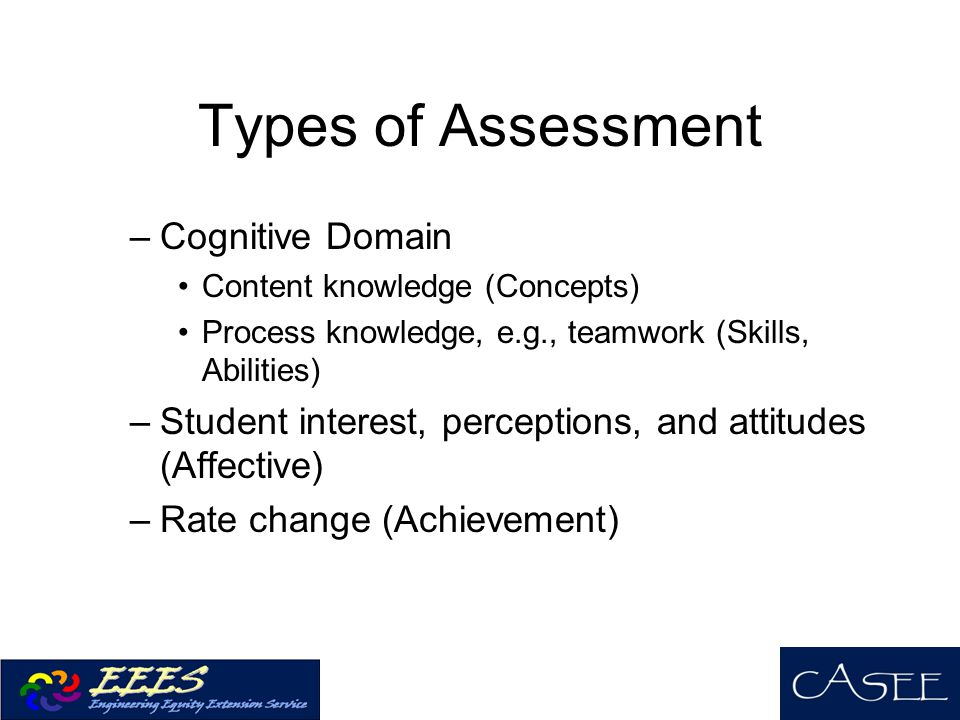 Types of Assessment Cognitive Domain