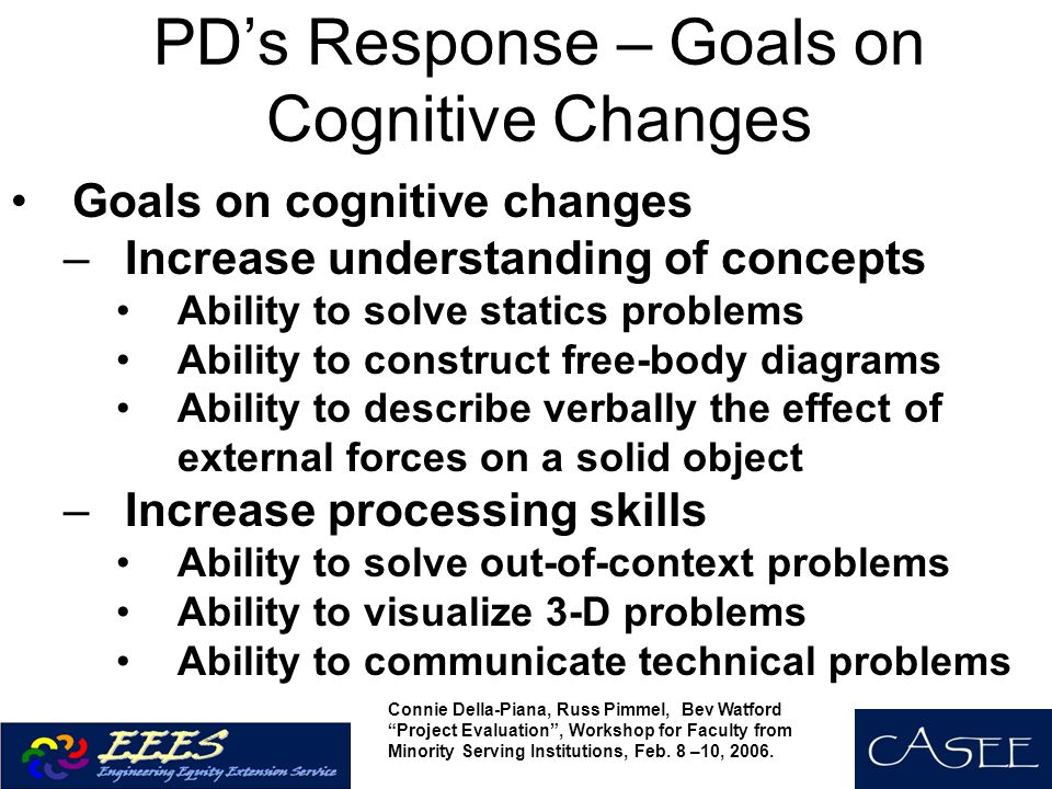 PD's Response – Goals on Cognitive Changes