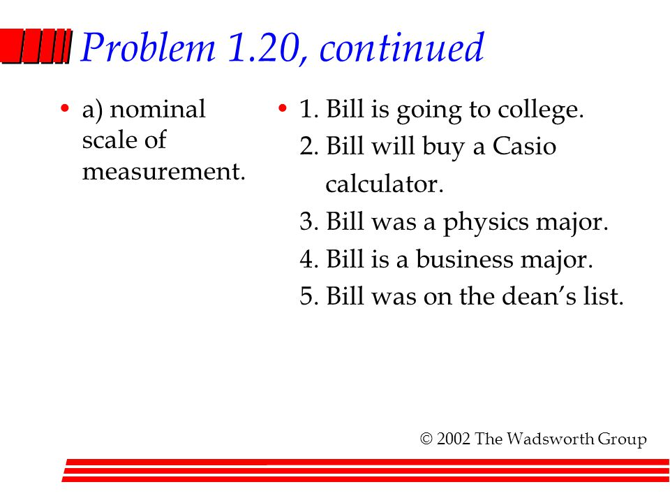 Problem 1.20, continued a) nominal scale of measurement.