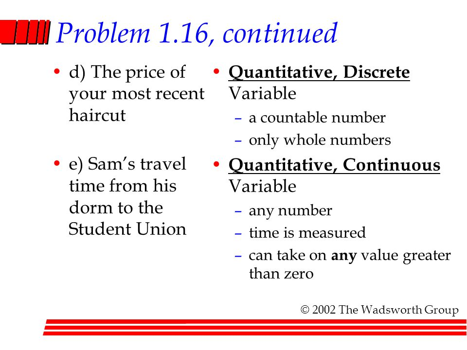 Problem 1.16, continued d) The price of your most recent haircut