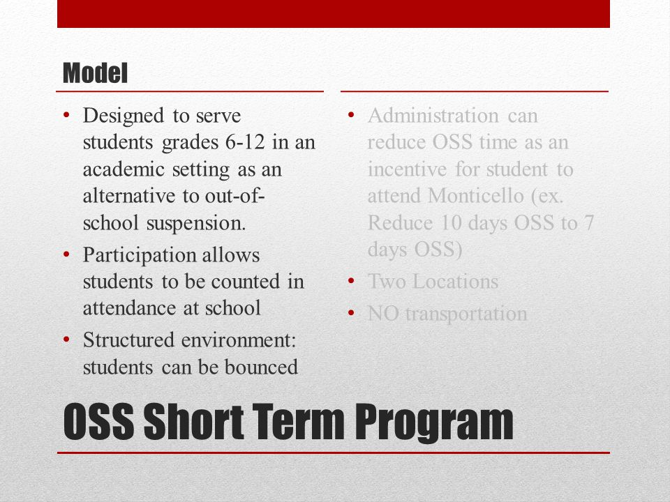 OSS Short Term Program Model