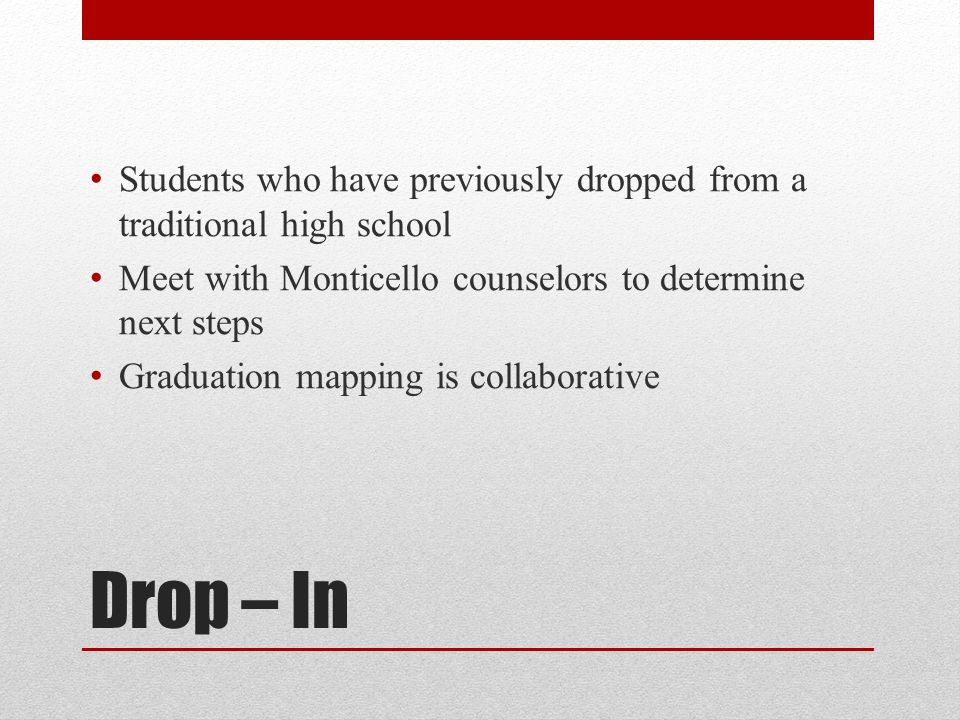 Students who have previously dropped from a traditional high school