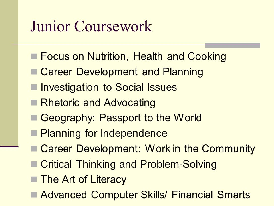 Junior Coursework Focus on Nutrition, Health and Cooking