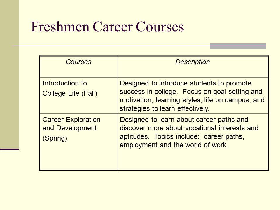 Freshmen Career Courses