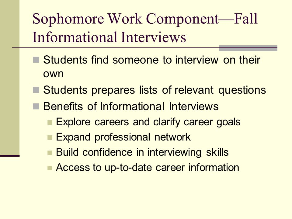 Sophomore Work Component—Fall Informational Interviews