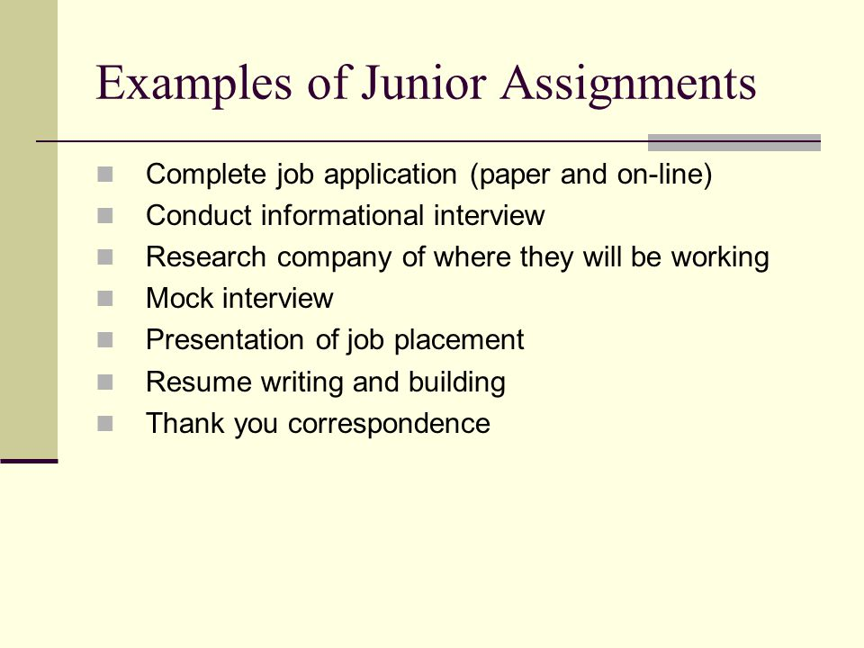 Examples of Junior Assignments