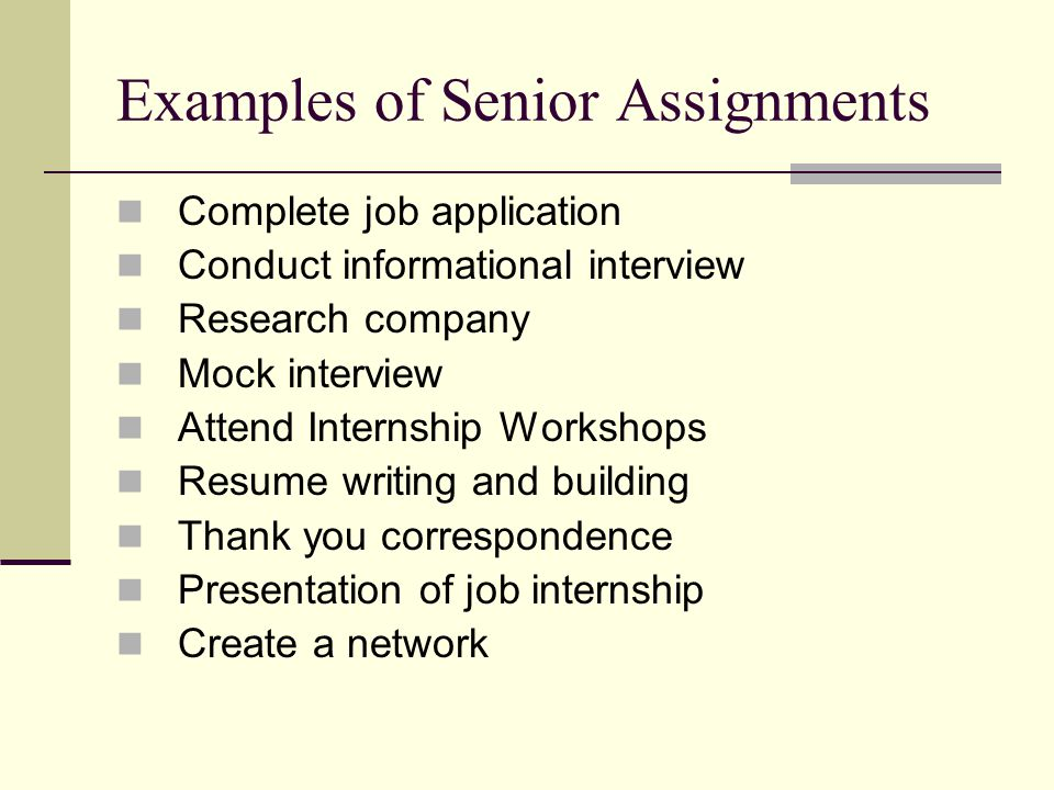 Examples of Senior Assignments