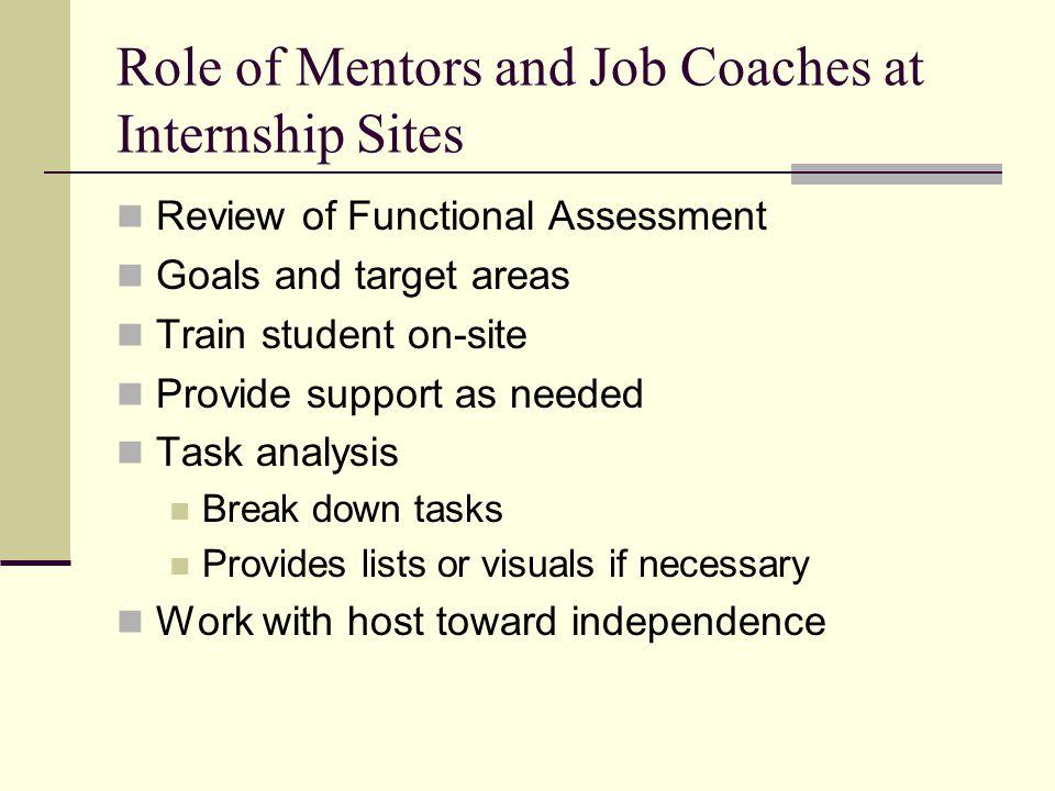 Role of Mentors and Job Coaches at Internship Sites