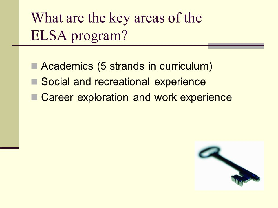What are the key areas of the ELSA program