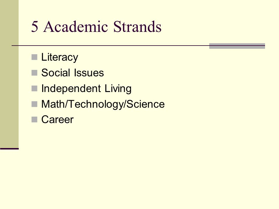5 Academic Strands Literacy Social Issues Independent Living