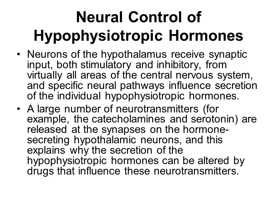 Neural Control of Hypophysiotropic Hormones