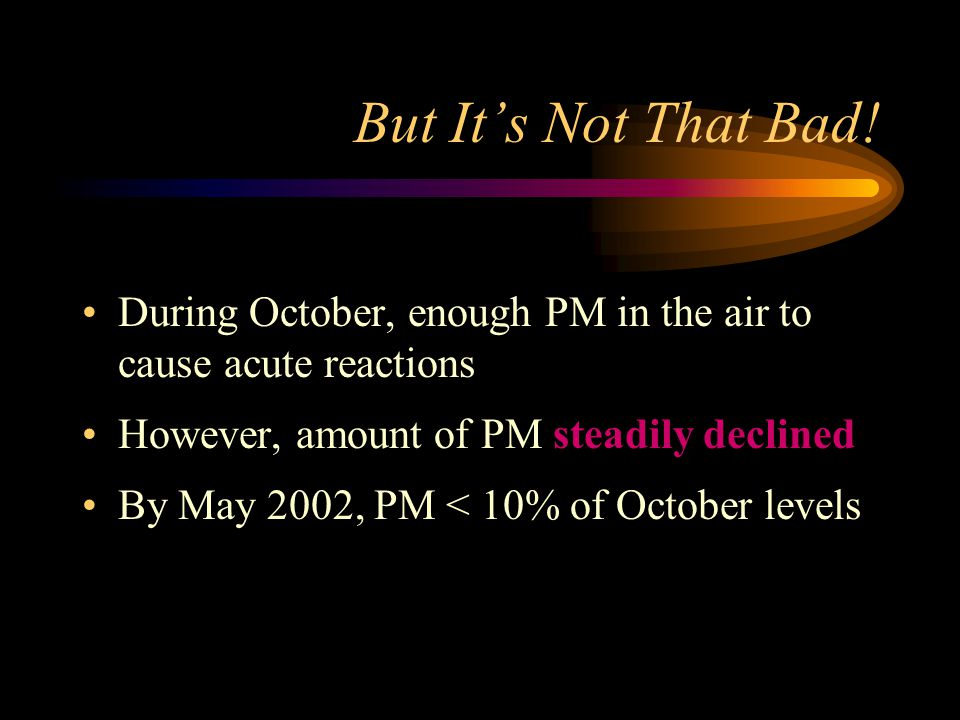 But It's Not That Bad! During October, enough PM in the air to cause acute reactions. However, amount of PM steadily declined.