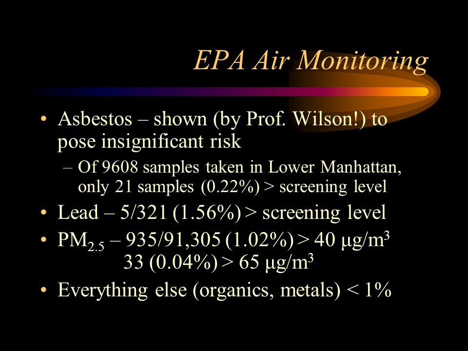 EPA Air Monitoring Asbestos – shown (by Prof. Wilson!) to pose insignificant risk.