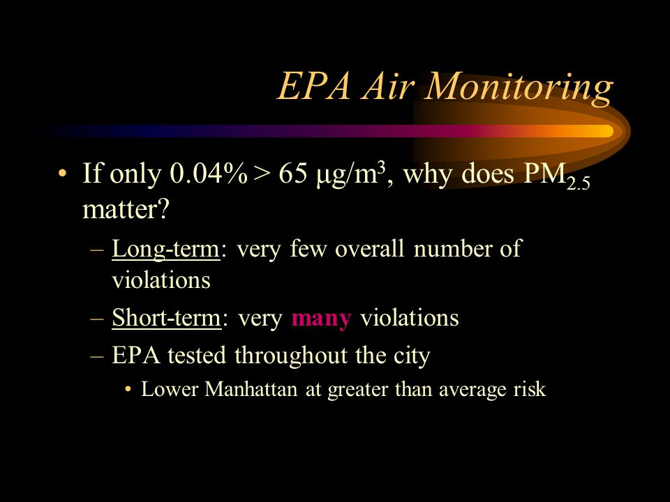 EPA Air Monitoring If only 0.04% > 65 μg/m3, why does PM2.5 matter