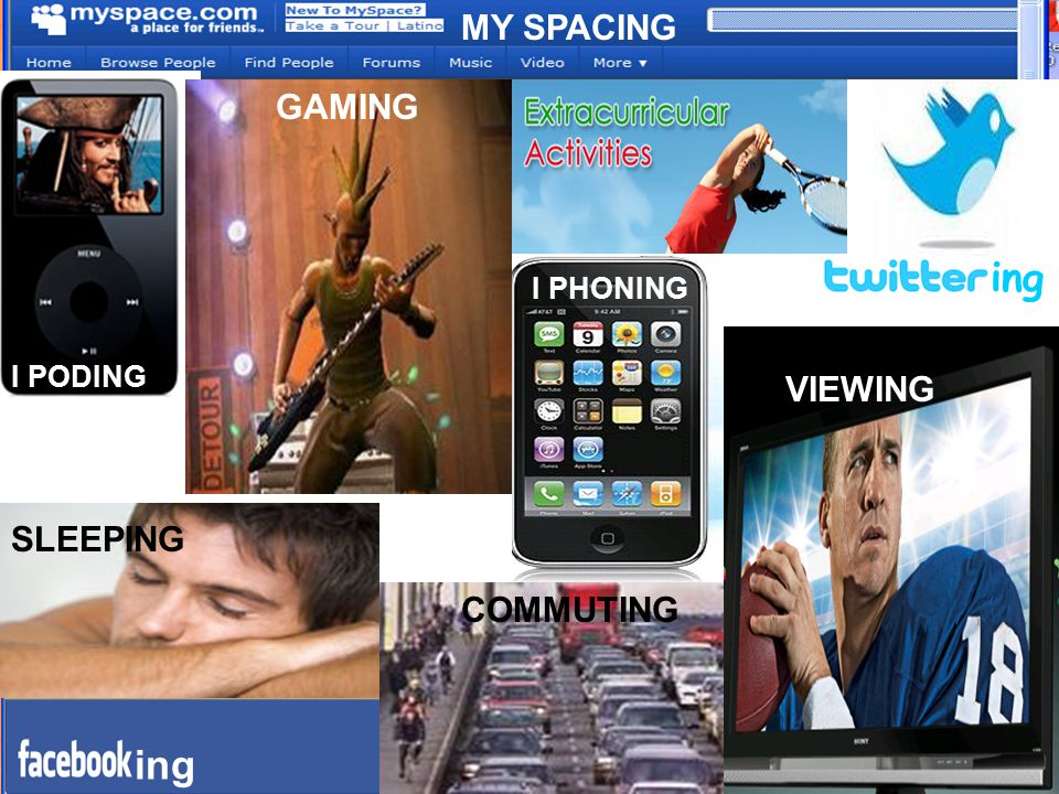 ing ing MY SPACING GAMING VIEWING SLEEPING COMMUTING I PHONING