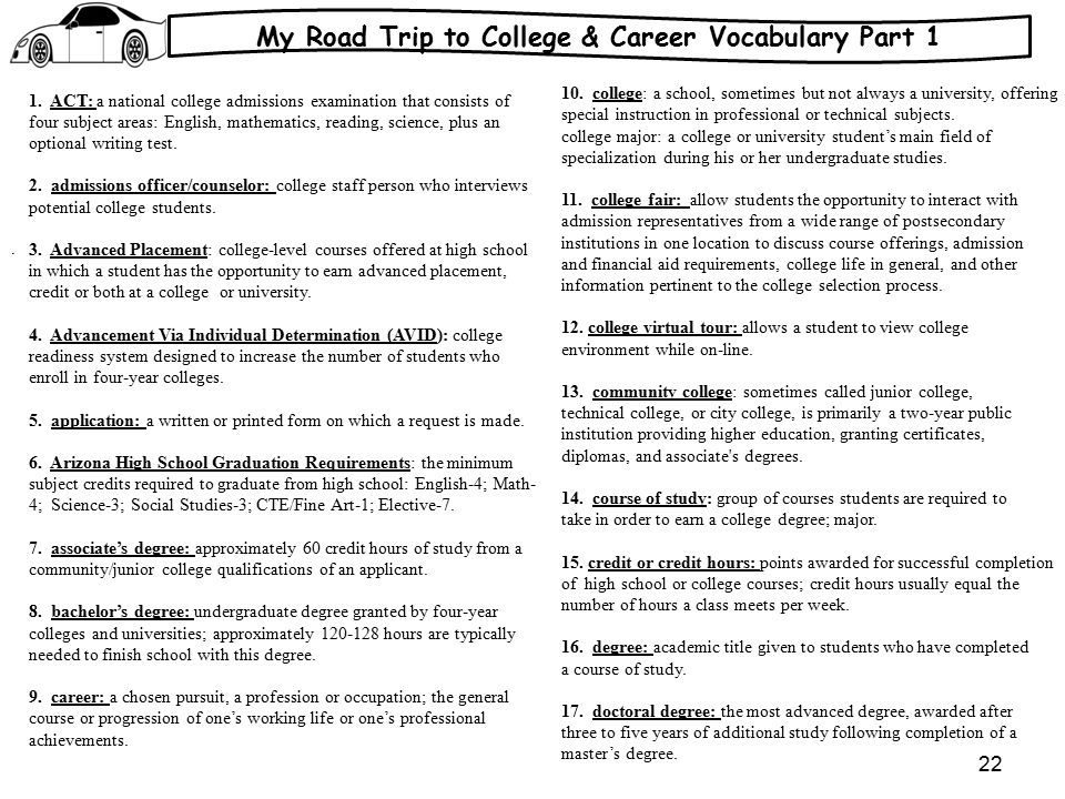 My Road Trip to College & Career Vocabulary Part 1