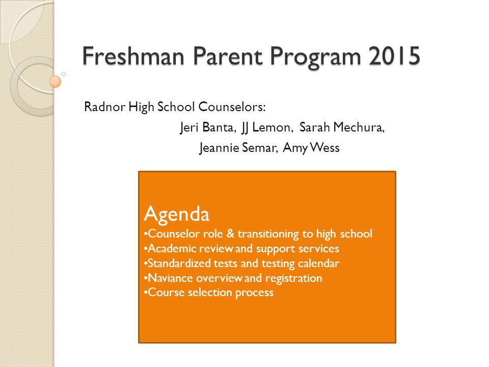 Freshman Parent Program 2015
