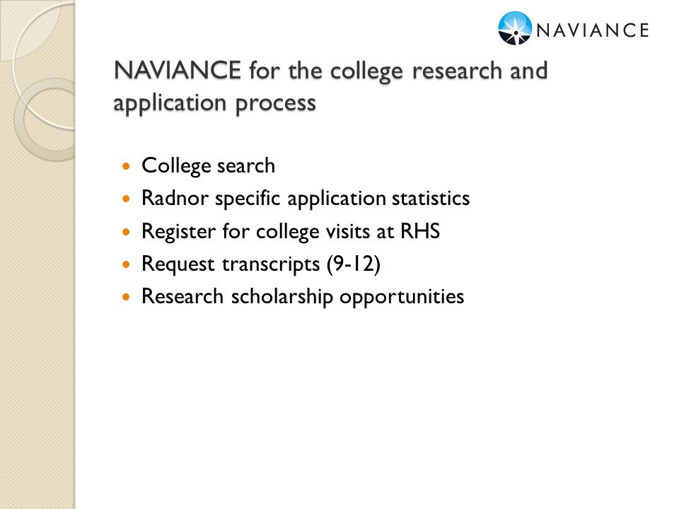 NAVIANCE for the college research and application process