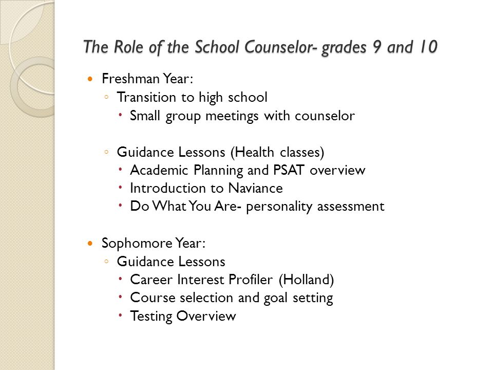 The Role of the School Counselor- grades 9 and 10
