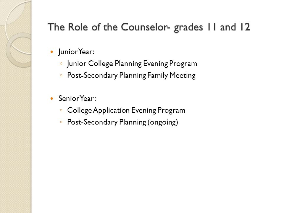 The Role of the Counselor- grades 11 and 12