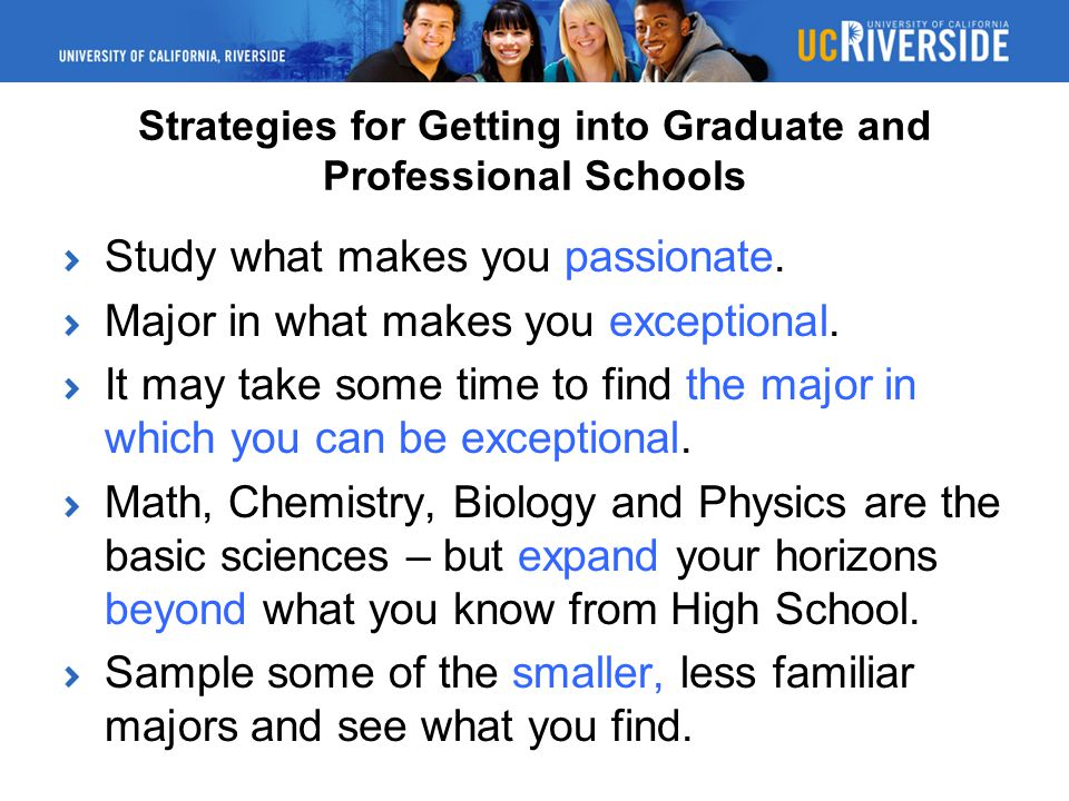 Strategies for Getting into Graduate and Professional Schools