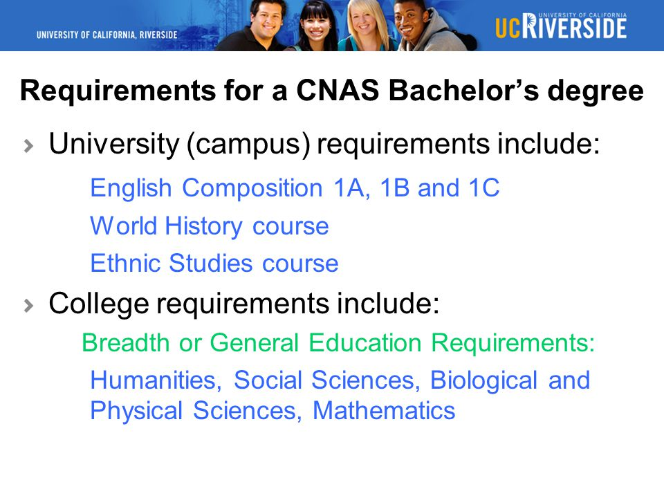 Requirements for a CNAS Bachelor's degree