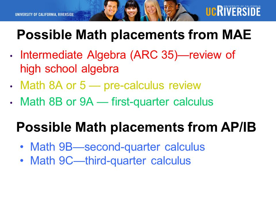 Possible Math placements from MAE