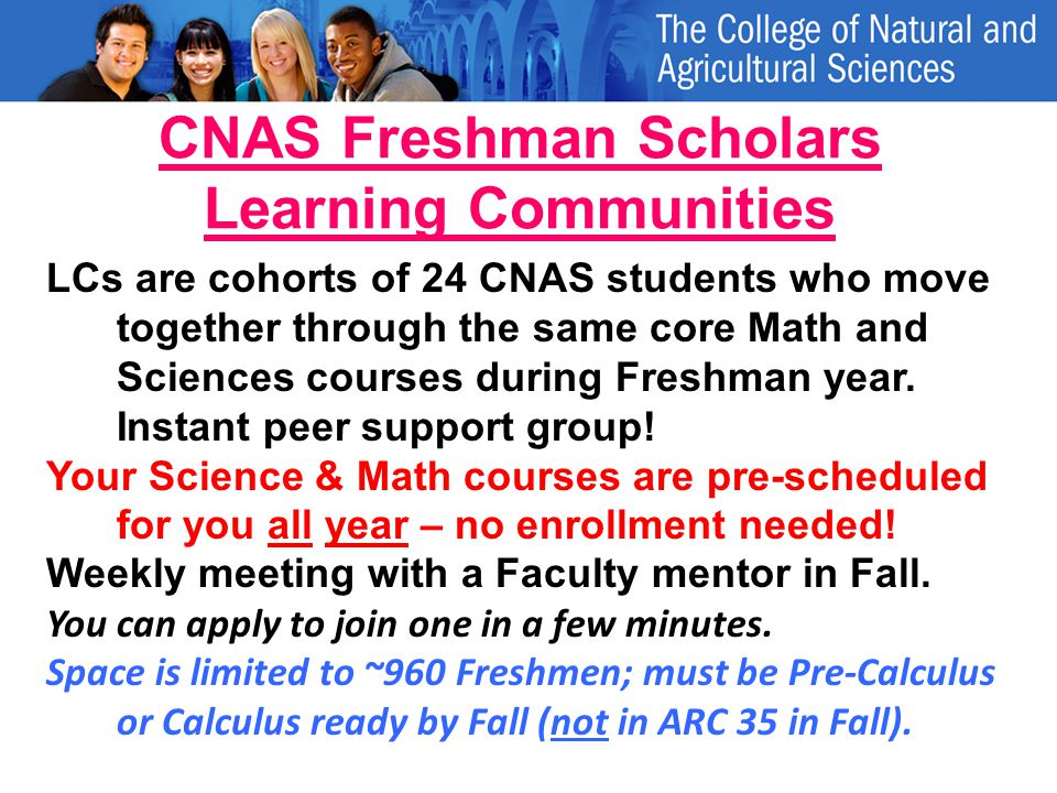 CNAS Freshman Scholars Learning Communities