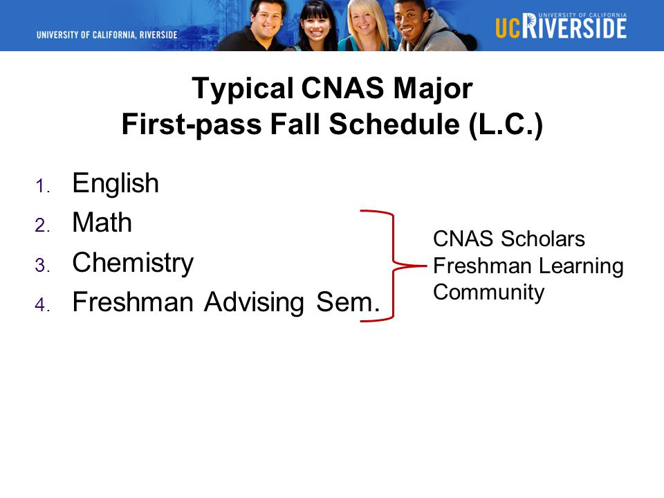 Typical CNAS Major First-pass Fall Schedule (L.C.)