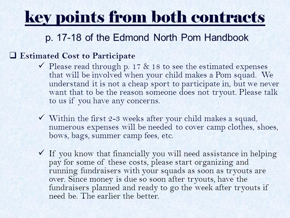 key points from both contracts p