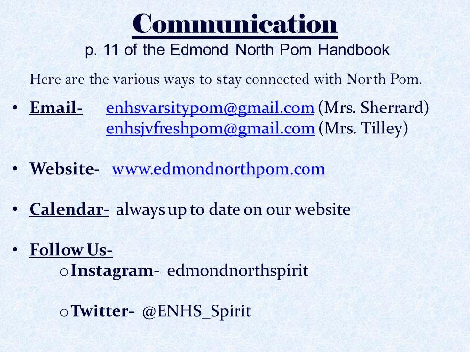 Communication p. 11 of the Edmond North Pom Handbook