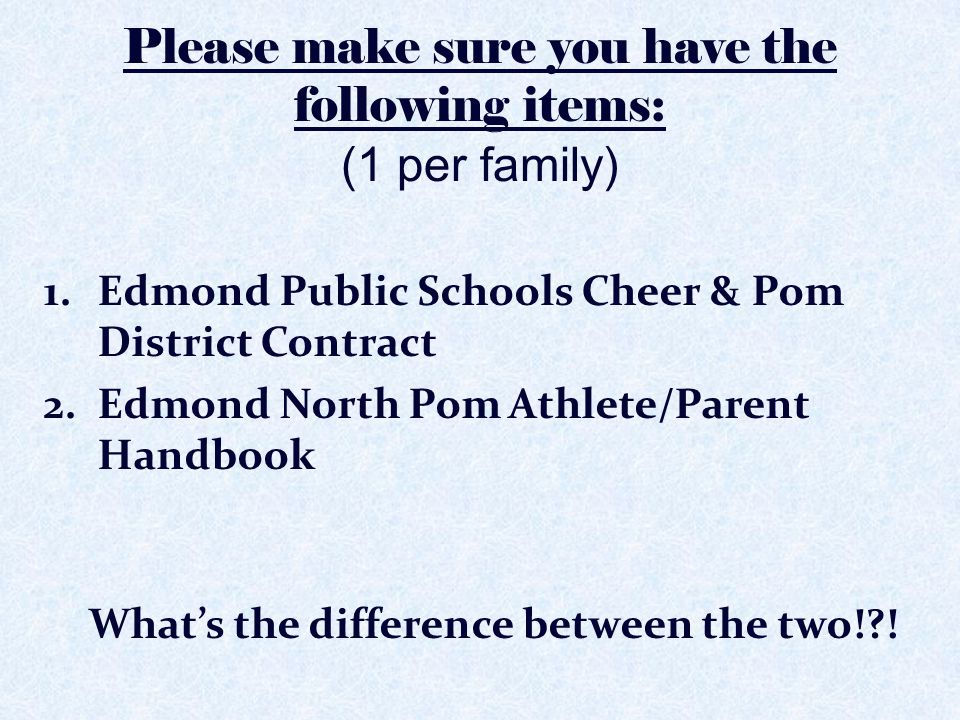 Please make sure you have the following items: (1 per family)