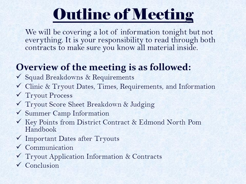 Edmond North Pom Try-Out Meeting - Ppt Video Online Download