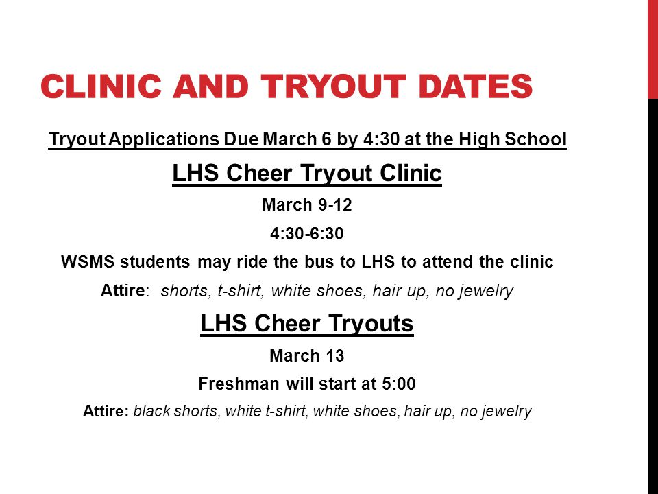 Clinic and tryout Dates