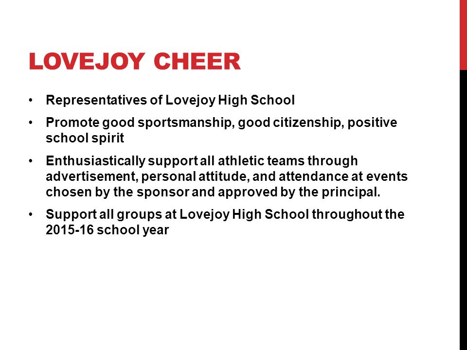 Lovejoy cheer Representatives of Lovejoy High School