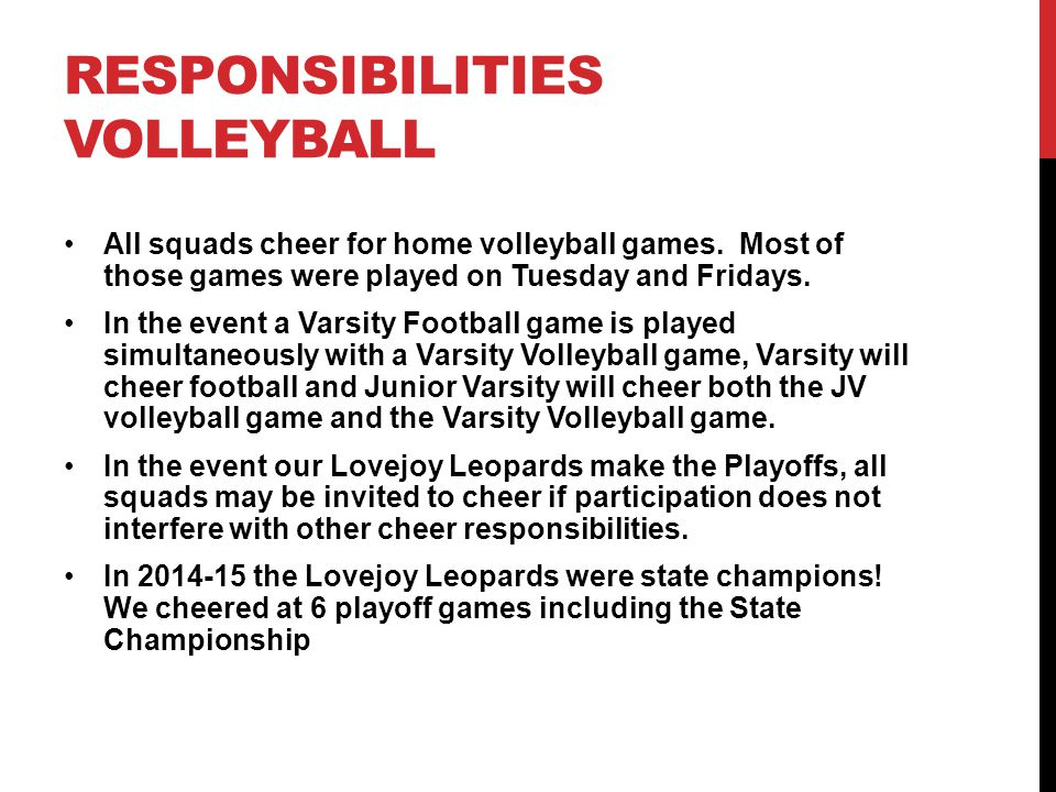 Responsibilities Volleyball