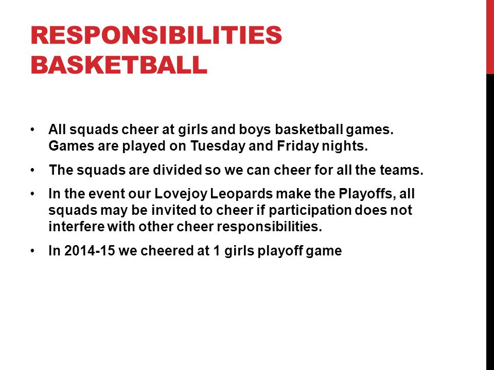 Responsibilities Basketball