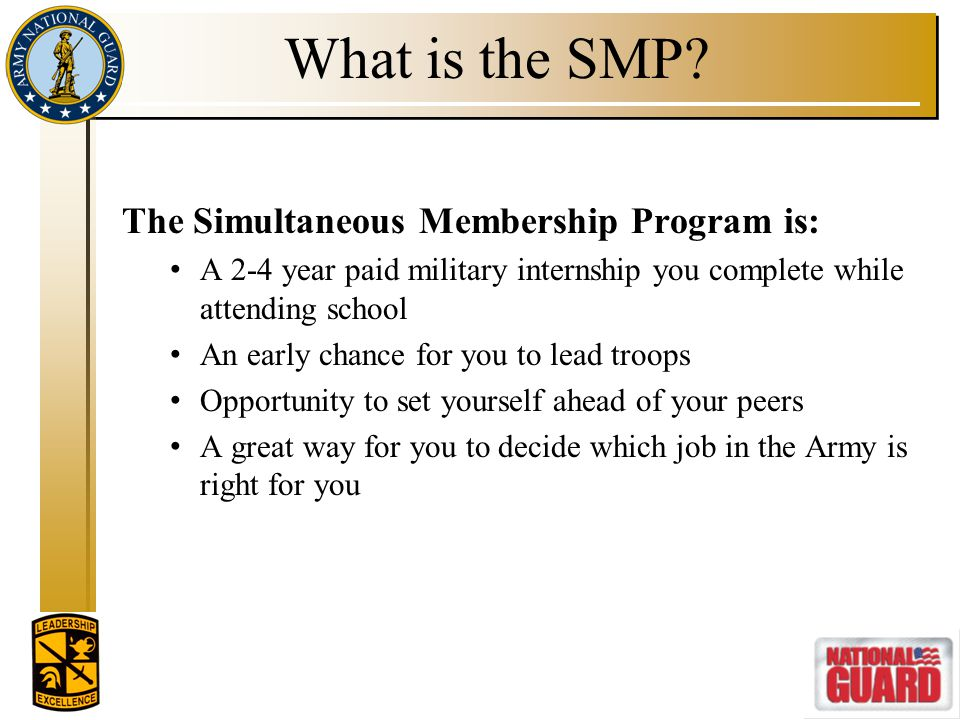 What is the SMP The Simultaneous Membership Program is: