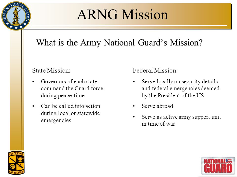 ARNG Mission What is the Army National Guard's Mission State Mission: