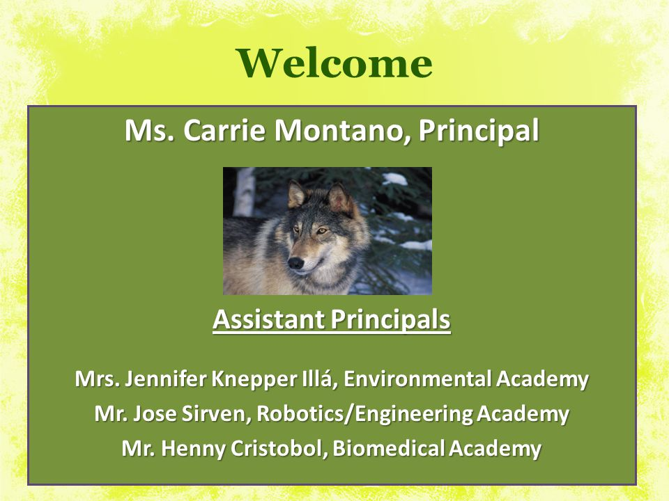 Welcome Ms. Carrie Montano, Principal
