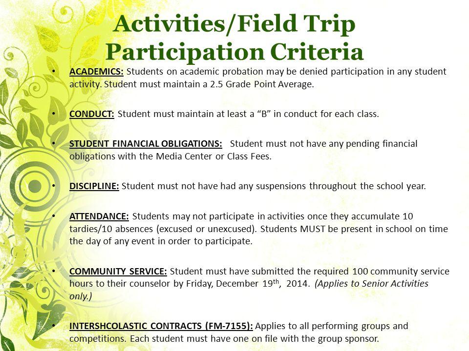 Activities/Field Trip Participation Criteria